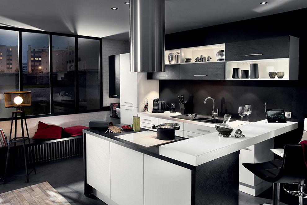 cuisine SoCoo c moderne contraste de noir et blanche