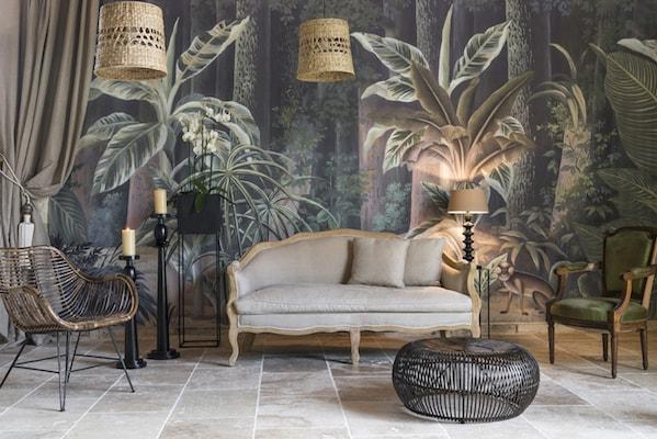 papier peint salon tropique