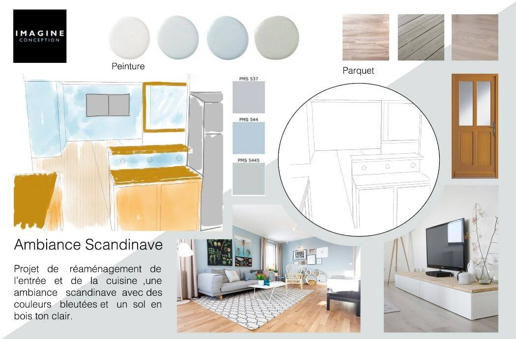Planche d'ambiance d'un aménagement intérieur