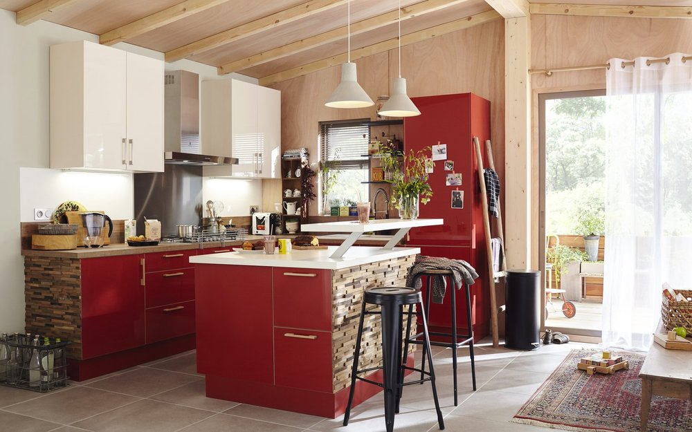 cuisine Leroy Merlin rouge style moderne