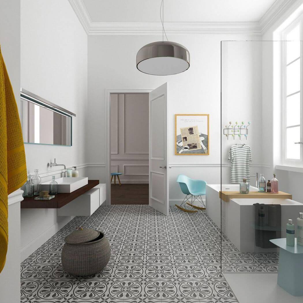 Salle de bain avec sol en carreaux de ciment