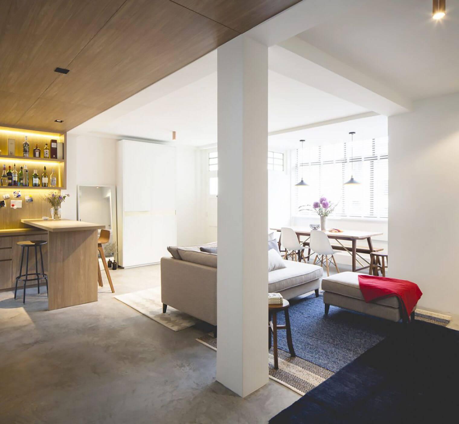 Salon épuré dans appartement zen