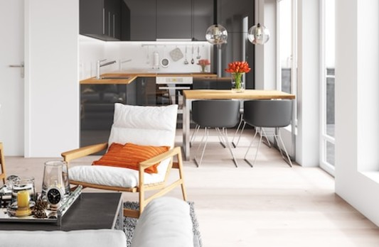 salon cosy maison cuisine equipee