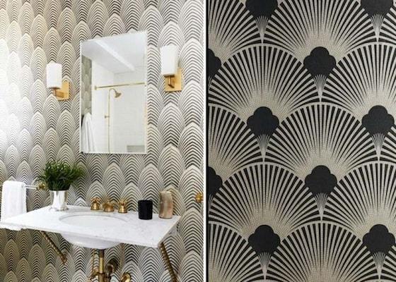 salle de bain retro noir et blanc