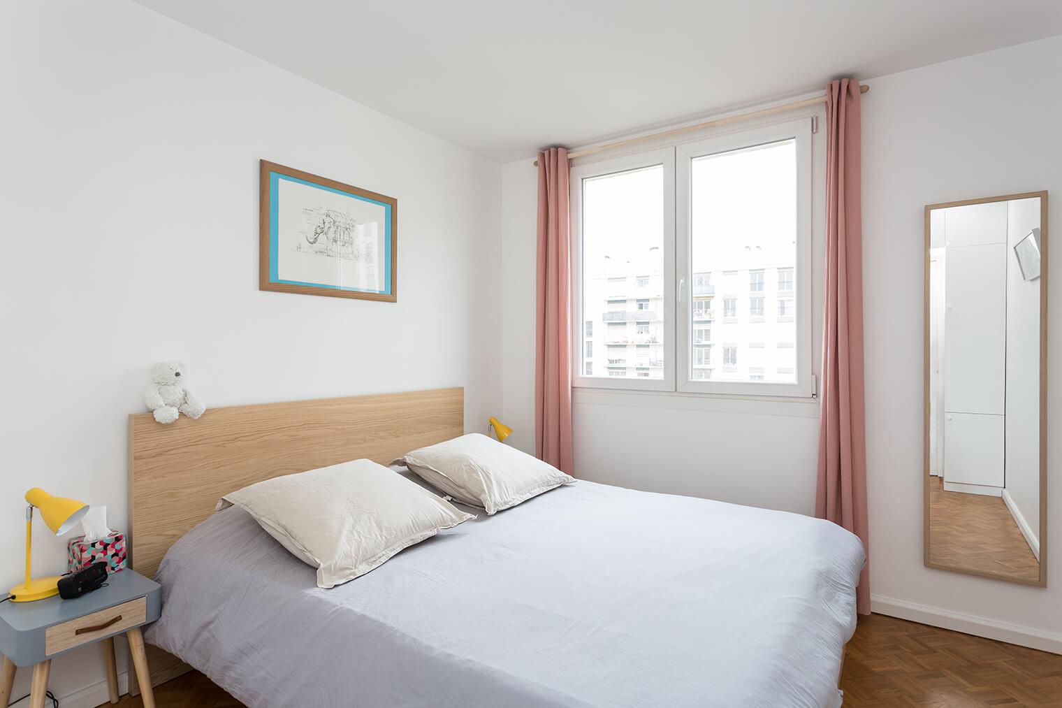 Rénovation chambre avec parquet damier