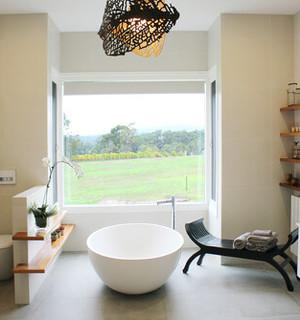 renovation salle de bain baignoire ilot