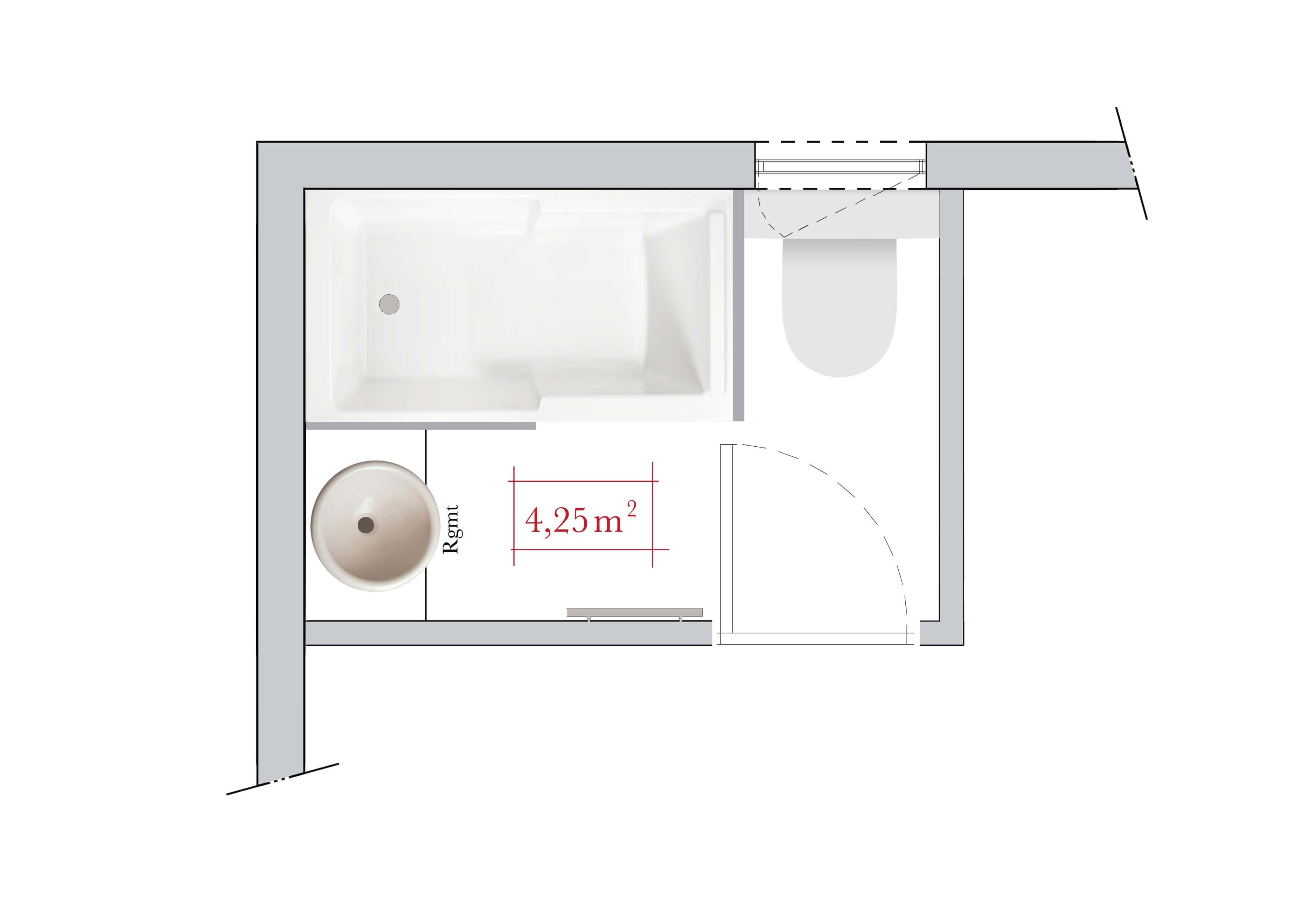 Plan agencement salle de bain 4m2