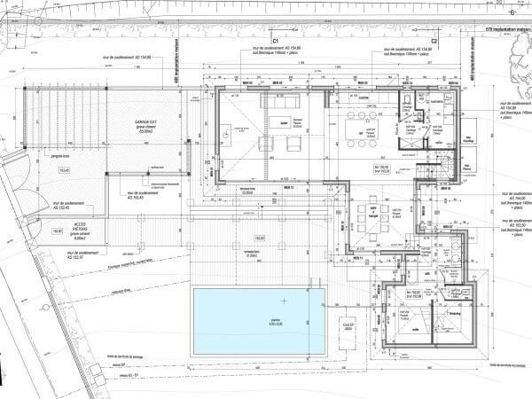 plan technique d'une maison avec cotes