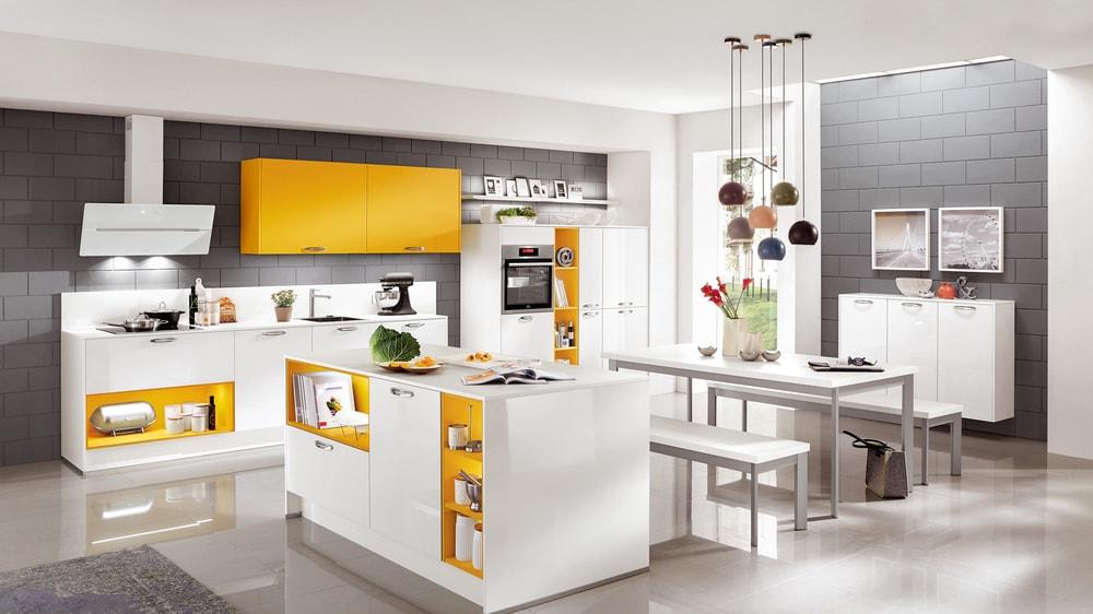 cuisine Nobilia laquée, jaune et blanc ultra brillant