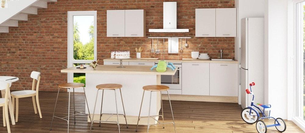 cuisine Aviva style contemporain blanche avec plan de travail en bois