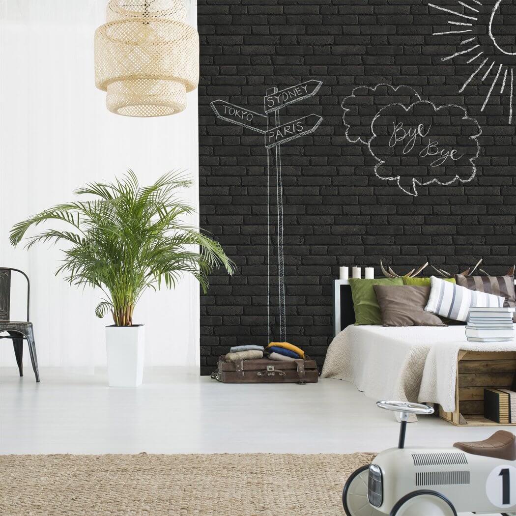 Papier peint vinyle effet brique effaçable