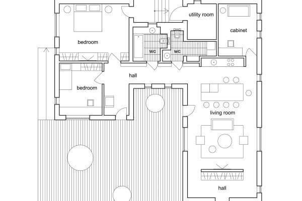 Plan du rez-de-chaussée d'une maison d'architecte
