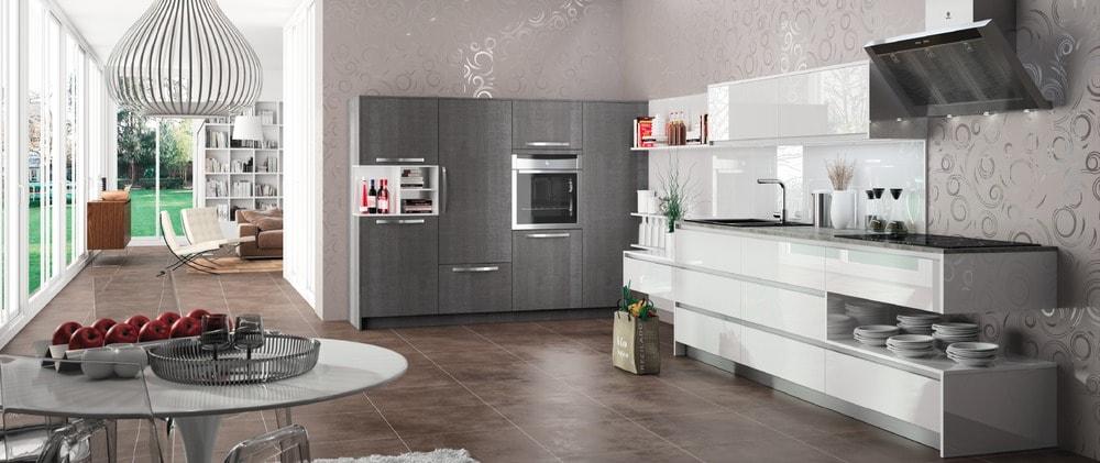 cuisine Morel, contemporaine, haut de gamme, blanche et grise