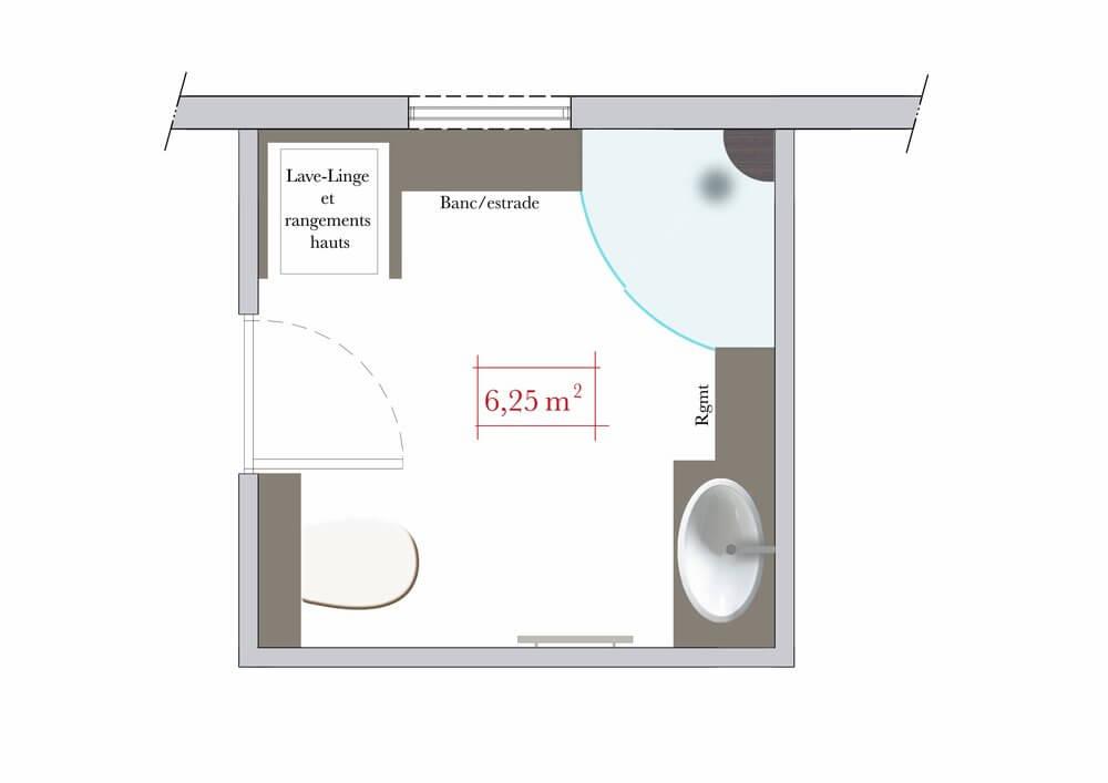 Plan agencement salle de bain 6m2