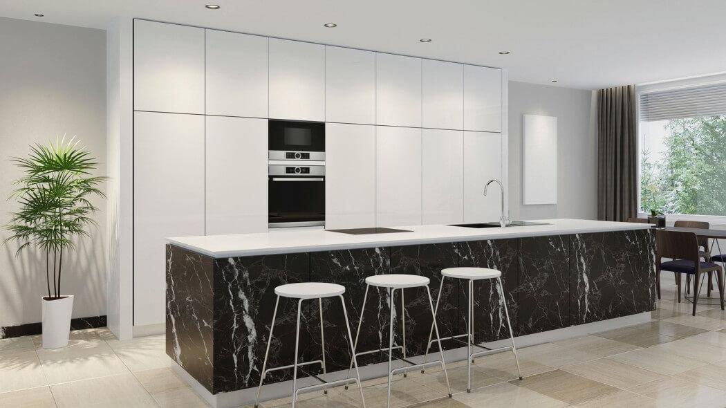 Cuisine de luxe en stratifié laqué avec îlot en marbre