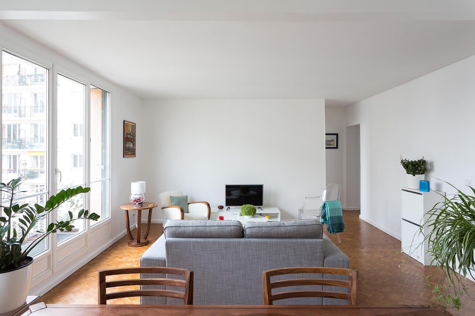 Rénovation parquet damier dans appartement parisien